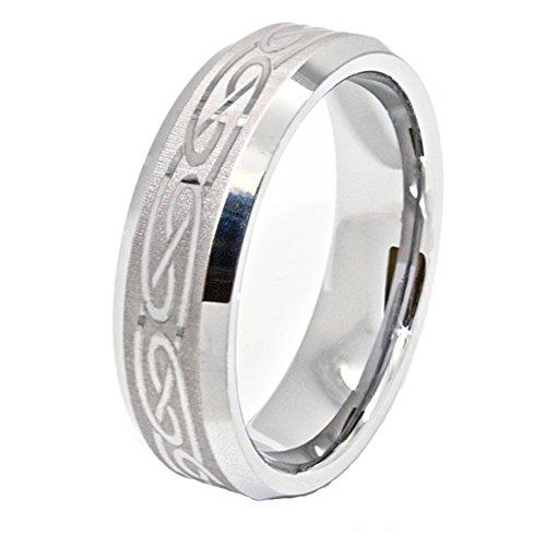 Tungsten Design Etched - 8mm Laser Etched Celtic Design Tungsten Carbide Wedding Band Size (7)
