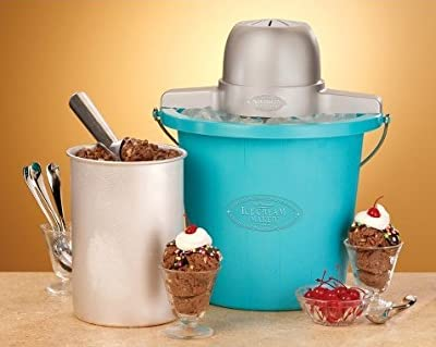 Ice cream,yogurt maker-Nostalgia Electrics 4-Quart Blue Bucket Electric Ice Cream Maker-Ice Cream Machine-Fill The The Electric Motor Do The Churning For You-Ice Cream Maker-Guarenteed!