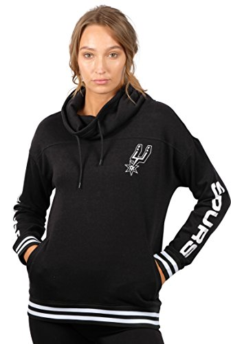 NBA Women's San Antonio Spurs Fleece Hoodie Pullover Sweatshirt Funnel Neck, Large, Black