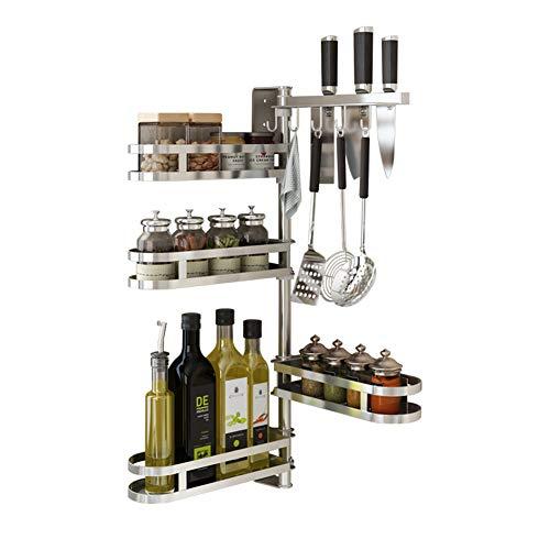 Lzx Estantería de cocina multifuncional 304 de acero inoxidable cocina especiero rack,Apto para cocina, baño, dormitorio,...