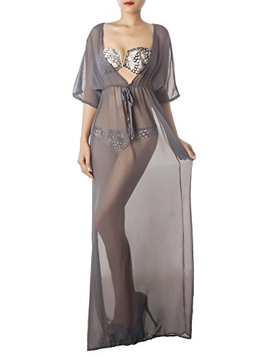 iB-iP Women'S Sheer Bikini Swimsuit Plunge Loose Maxi Dress Long Tunic Cover-Up, Size: S-M, Grey (Womens Sheer Bikini Swimwear)