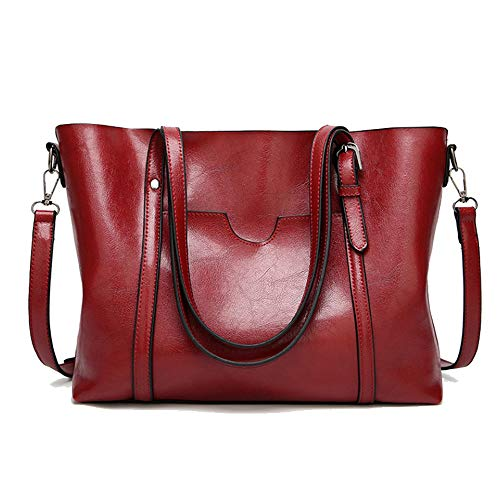 Cawmixy Satchels Women Handbag Shoulder Bags Classic Tote Ladies Hobo Purses Designer Woman Top-Handle Bags (New Red)