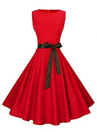 Anni Coco Women's Classic 1950s Vintage Hepburn Dresses Red X-Small