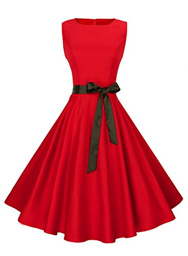 Anni Coco Women's Classic 1950s Vintage Hepburn Dresses Red X-Large - Womens Cocktail Red Dresses