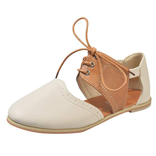 OrchidAmor Women Round Toe Rome Shoes Hit Color Hollow Lace-Up Flat Single Shoes Sandals 2019 Beige