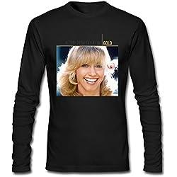 YLIN Men's Olivia Newton-John Gold Long Sleeve T-shirt Size L Black