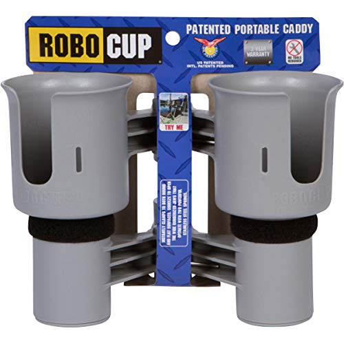 Holders Portable Cup - ROBOCUP, Gray, Updated Version, Best Cup Holder for Drinks, Fishing Pole, Boat, Beach Chair/Golf Cart/Wheelchair/Walker