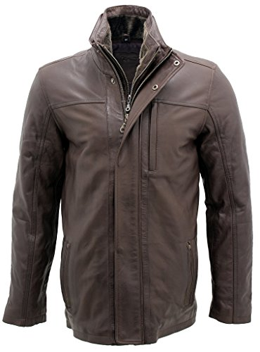 Men's Classic Warm Brown Leather Biker Jacket M (Brown Cowhide Nappa Leather)