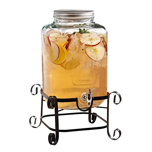 Style Setter La Maison 210262-GB 3 Gallon Glass Beverage Dispenser with Metal Stand and Lid, 11.5 x 18, Clear