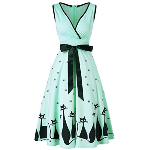 Manxivoo Retro Cat Print Surplice Dress, Sleeveless Deep V Vintage Tea Dress with Bowknot 50s Style Swing Evening Party Dress (Mint Green, -