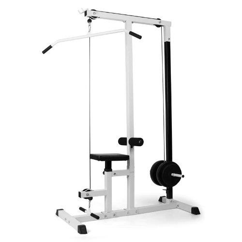 Klarfit FIT-LM01 Rückentrainer Latzug-Station Latissimus Rücken-Training (Sitzhöhe verstellbar, inkl. Hakenhalter für Stange, einfache Montage, Edelstahl, Seilzug zum ziehen) weiß