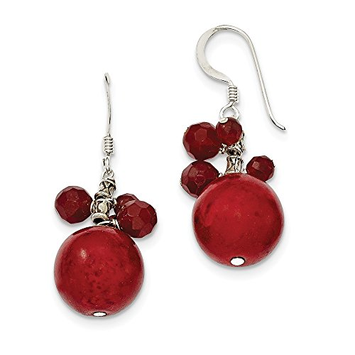 Genuine Red Jasper Earrings - Silver Genuine Red Jasper Coral Dangle Earrings