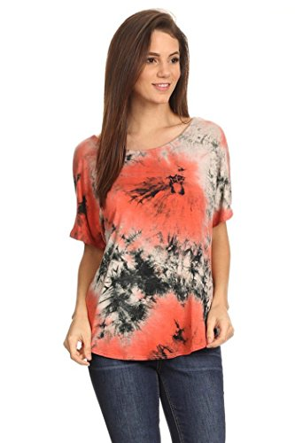 Womens Regular Size Tie Dyed Short Sleeve Top With Back Slit MADE IN USA (S, Rust) (Tie Dyed Shirt)