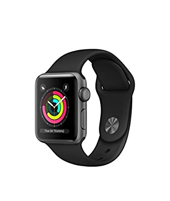 Apple Watch Series 3 Aluminum case 38mm GPS ONLY (Space Gray Aluminum Case with Black Sport Band)