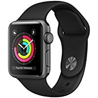 Apple Watch Series 3 38mm Aluminum Case GPS Smartwatch with Black Sport Band (Multiple Colors)