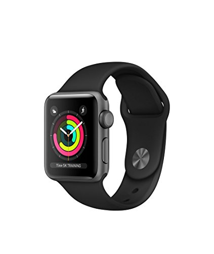 Apple Watch Series 3 Aluminum case 38mm GPS ONLY (Space Gray Aluminum Case with Black Sport Band) by Apple