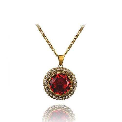 Kin Hypoallergenic Fashion Jewelry Red Diamond Retro Unilateral Ring Necklaces Beautiful Jewelry Accessories, 18k Gold discredited (Color : 18k Gold Discredited)