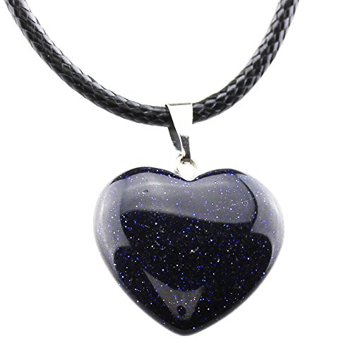 - FOY-MALL Fashion Blue Goldstone Heart Pendant Necklace D1212M