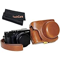 TechCare Ever Ready Protective Leather Camera Case Bag for Panasonic Lumix DMC-LX100, Panasonic LUMIX LX100 Digital Camera (Light Brown), Panasonic LUMIX LX100 case