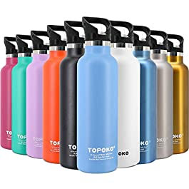 TOPOKO 25 Ounce Double Wall Stainless Steel Water Bottle Vacuum Insulation Bottle Leak Proof Bottle,BPA Free with Straw…