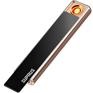 SUPRUS Electric Lighter USB Rechargeable Flameless Windproof Slim Design Extremely Light-Weighted Super Silent with USB Cable