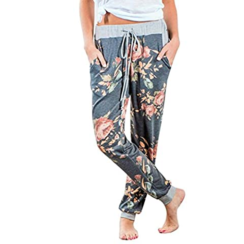 Women's Loose Pants ,Jushye Ladies Floral Print Yoga Trousers Loose Stretch Trousers Womens Drawstring Wide Leg Trousers Pants Flared Ladies Trousers Pants (M, - Color Shoes Pants