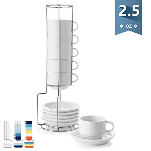 Sweese 4310 Porcelain Stackable Espresso Cups with Saucers and Metal Stand - 2.5 Ounce for Specialty Coffee Drinks, Latte, Cafe Mocha and Tea - Set of 6, White by Sweese