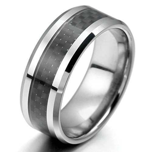 Aooaz Tungsten Rings For Men Carbon Fiber Silver Black Rings Polished Punk Bands Size 12 Free Engraving