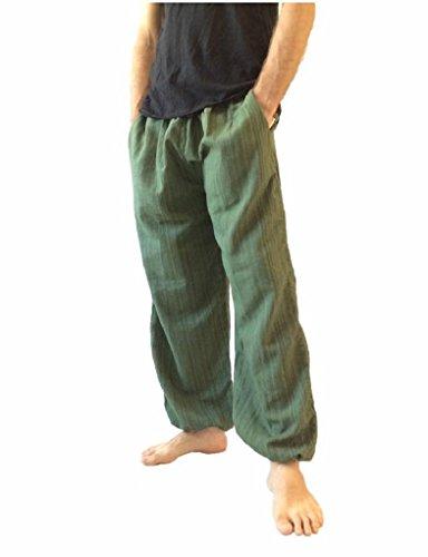 Love Quality Baggy Pants Men's One Size Cotton Harem Pants Hippie Boho Trousers (Green) ()