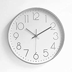 FlorLife 12 inch Contemporary Wall Clocks Non-Ticking Silent Quartz Wall Clock Simple Round Retro Indoor Outdoor Kitchen Bedroom Living Room Clocks Big 3D Number Display