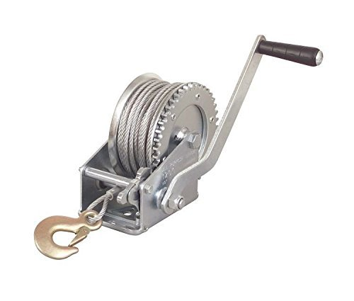 2000lb 1 Ton Hand Crank Steel Gear Cable Wire Winch Boat ATV Trailer w/Hook