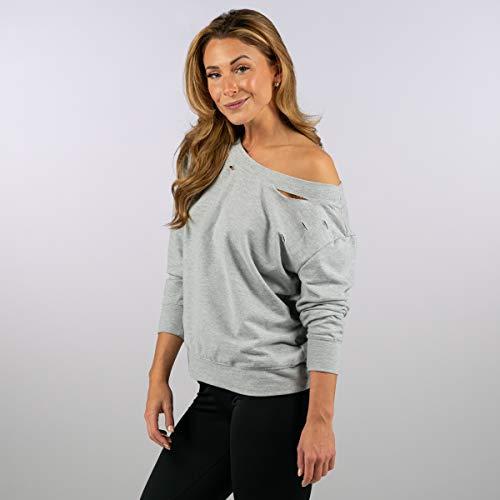Sam Edelman Women's Boatneck Sweatshirt W/Rips, Heather Grey, M
