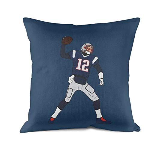 Bombline 18x18 Inch Square Throw Pillow Cushion Covers Cotton Home Decor Design Football-MVP-Tom-Goat-12- Throw Pillow Covers