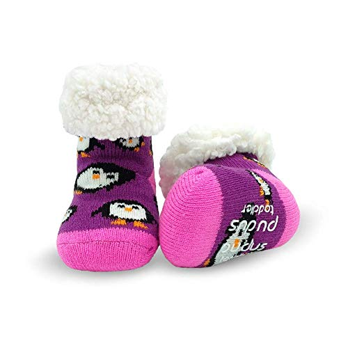 (Pudus penguin purple toddler (1-3 years) cozy winter classic slipper socks with grippers)