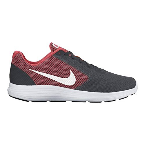NIKE Men's Revolution 3 Running Shoe, Anthracite/White/Track Red, 8 M US