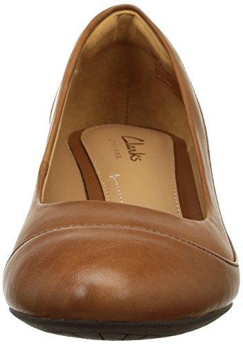 Clarks Denny Harbour - zapatos de tacón cerrados de cuero mujer Marrón (Tan Leather)