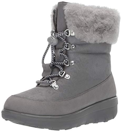 FitFlop Women's Holly Shearling Snow Boot, Charcoal 8 M US ()