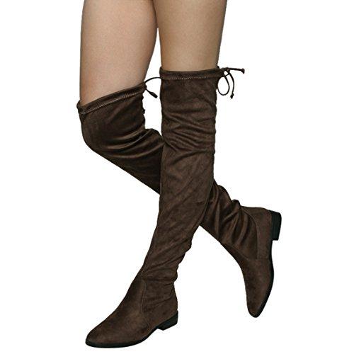Beston FM33 Damen Stretchy Snug Fit Oberschenkel Hohe Kordelzug Block Heel Stiefel Taupe
