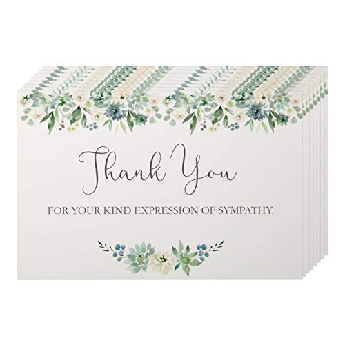 Funeral Thank You Cards with Envelopes. 50 Pack Sympathy Thank You Cards Blank on the Inside. Acknowledgement Cards for Family, Friends & Loved ones.
