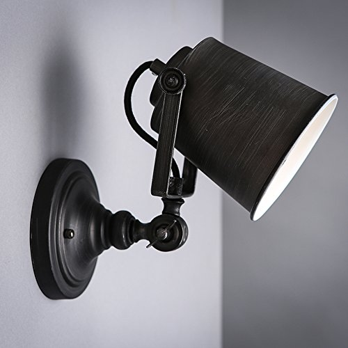 Adjustable Wall Fixture (KunMai Vintage Black Metal Cone Shade Single Light Rustic Adjustable Indoor Wall Light Fixture)