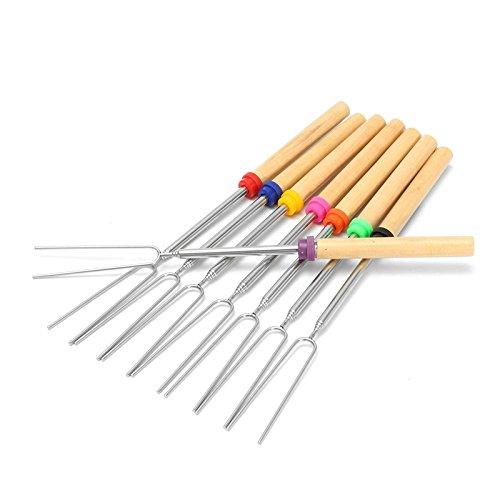 Raza 8 PCS DIY Stainless Steel Telescopic Roasting Marshmallow Barbecue BBQ Sticks Skewers Fork