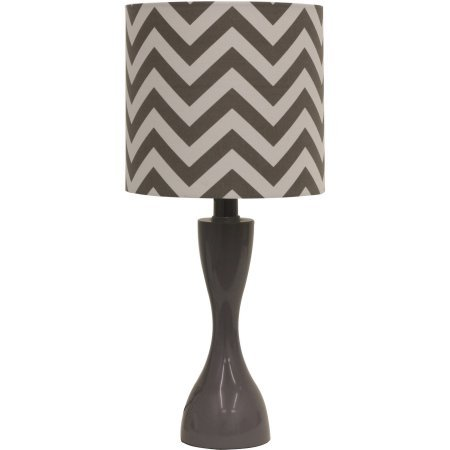 Table Lamp with CFL Bulb, Gray Chevron