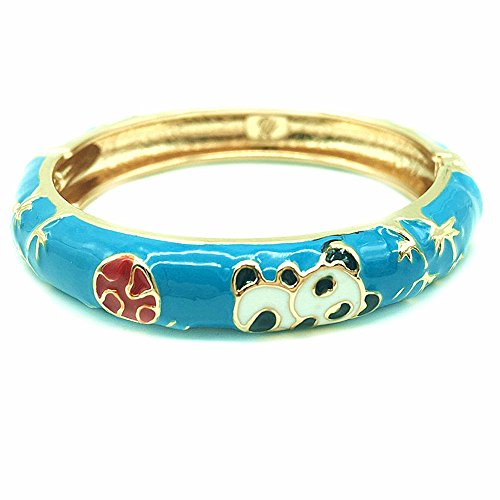 (UJOY Little Girl's Bracelet Animals Jewelry Children Gorgeous Panda Enamel Cloisonne Bracelet 55D01 Blue)