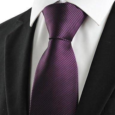 FYios®Nuevo color morado ciruela rayas Corbata de hombres traje ...