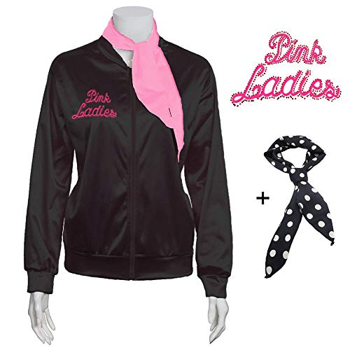 Yan Zhong 1950s Rhinestone Pink Ladies Satin Jacket with Neck Scarf T Bird Women Danny Halloween Costume Fancy Dress (Small) ()