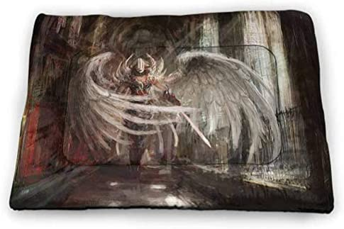 Pet Crate Mat Dog Bed Fantasy House Decor Collection Pet Cooling Mat,Portable & Washable Cyborg Angel Girl Warrior with Sword in Gothic Ancient Historical Architecture Pet Supplies for Kittens