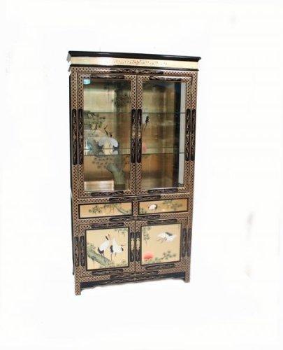 Goldfarben lackiert mit Cranes Möbel Vitrine, orientalischer Stil