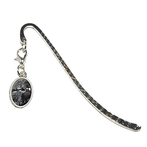 Steam Train Engine Locomotive Metal Bookmark Page Marker with Oval Charm