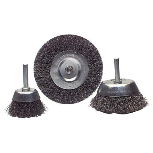 18 pieces Mounted Cup & Wheel Wire Brush Assortment - Coarse, 1/4'' Shank, Max RPM 4500