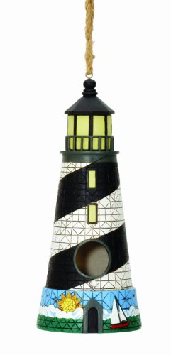Spoontiques Lighthouse Birdhouse, Black/White